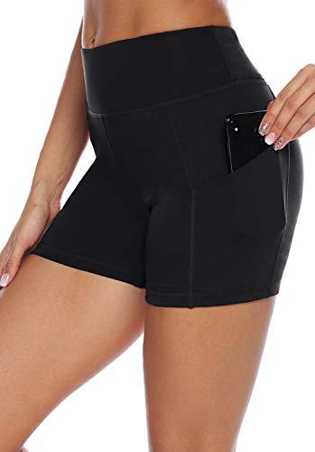 AUU High Waist Workout Yoga Running Compression Shorts Tummy Control Side Pockets (Black,XS)