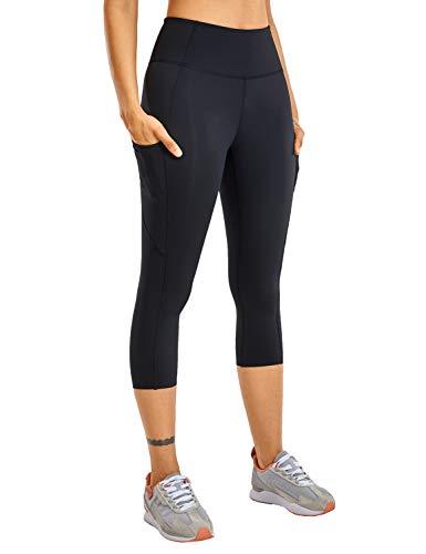CRZ YOGA Women's Naked Feeling High Waist Gym Workout Capris Leggings with Pockets 19 Inches Black 19' Medium