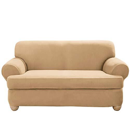 SureFit Home Décor SF36448 Stretch Suede T-Cushion Loveseat Cover, Form Fit, Machine Washable, One Piece, Camel Color