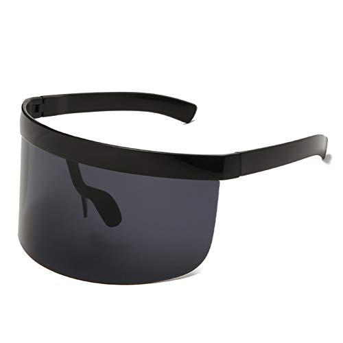 Futuristic Shield Visor Sunglasses Oversize Flat Top Sun Visors Glasses for Men Women (Bright Black Gray)