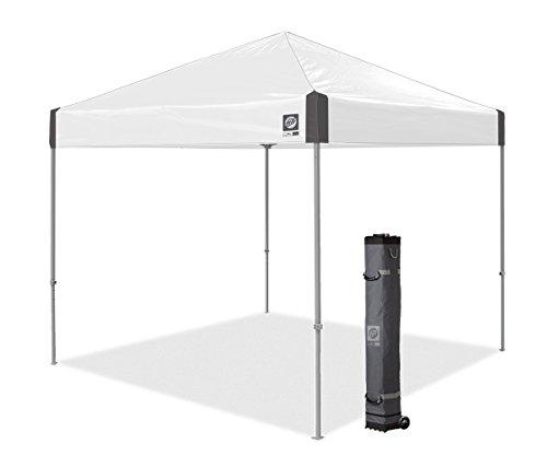 E-Z UP Ambassador Instant Shelter Canopy, 10' x 10', Roller Bag and 4 Piece Spike Set, White Slate