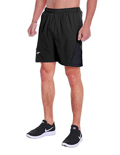 EZRUN Men's 7 Inch Quick Dry Running Shorts Workout Sport Fitness Short with Liner Zip Pocket(Black,L)