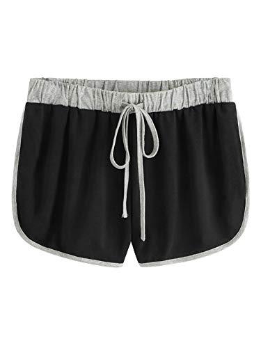 SweatyRocks Women's Dolphin Running Workout Shorts Yoga Sport Fitness Short Pant Black grey Medium