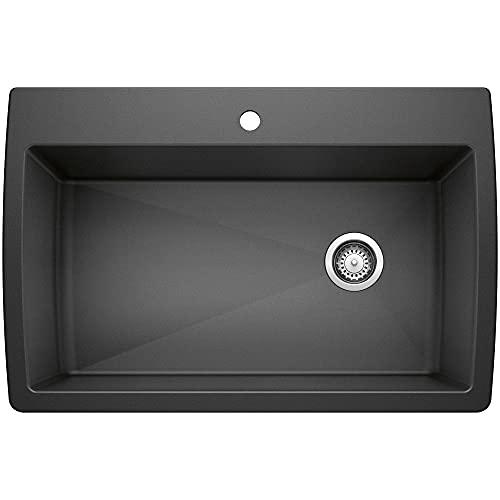 BLANCO, Anthracite 441094 DIAMOND SILGRANIT Super Single Drop-In or Undermount Kitchen Sink, 33.5' X 22'