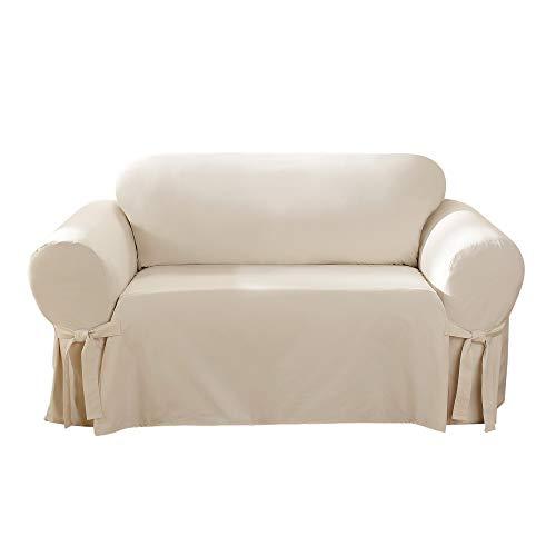 SureFit Home Décor 100 Percent, Machine Washable One Piece Cotton Duck Sofa Loveseat Slipcover, Natural