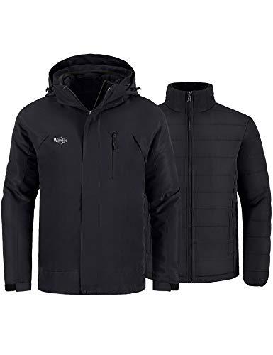 Wantdo Men's Mountain Waterproof Ski Jacket Winter Snow Coat Windproof Rain Jacket Black S