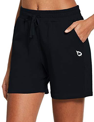 BALEAF Women's 5' Active Cotton Shorts Athletic Yoga Sweat Summer Casual Lounge Walking Shorts with Pockets Black Size M