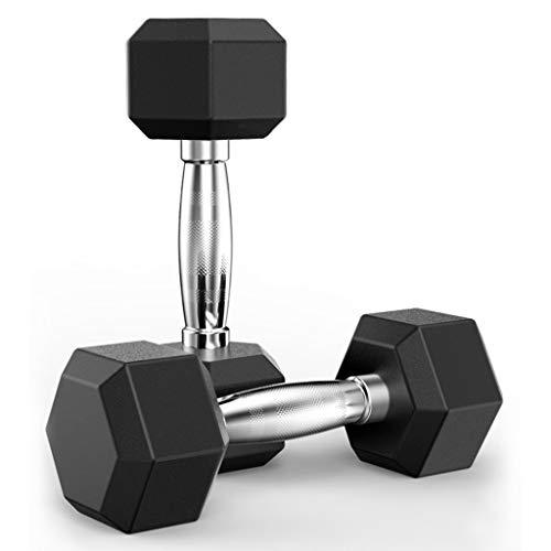 Goddesslili Dumbbells, 5-50 Pounds Hex Rubber Weights Workout Dumbbells Set Metal Ergonomic Handles Prevent Rolling and Injury for Home Gym Exercise Men Women Unisex (10)
