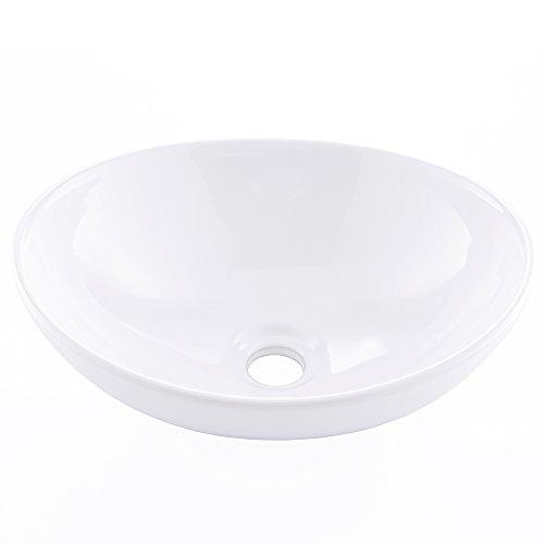 KINGO HOME White Oval Ceramic Vessel Sink, Above Counter Bathroom Porcelain Vessel Sink