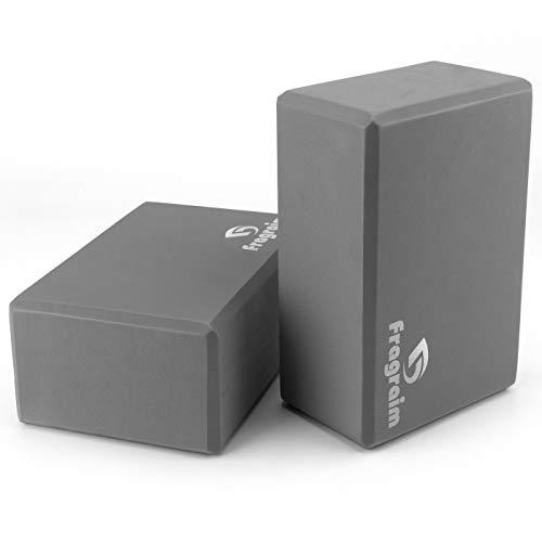 Yoga Blocks (2 Pack) - 9×6×4 High Density EVA Foam Bricks Provides Support Stability Balance & Flexibility and Deepen Poses - Great for Yoga, Pilates, Meditation, Fitness & Gym (Grey)