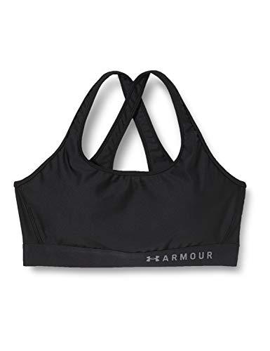 Under Armour womens HeatGear Armour Mid Impact Crossback Sports Bra , Black (001)/Graphite , Medium