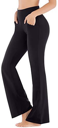 Ewedoos Bootcut Yoga Pants for Women High Waisted Yoga Pants with Pockets for Women Bootleg Work Pants Workout Pants (EW390 Black, Large)