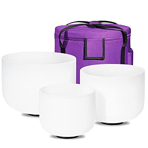 432HZ Set of 3 PCS 8-12 inch Quartz Crystal Singing Bowls 8'' B 10'' E 12'' C With Case Bag