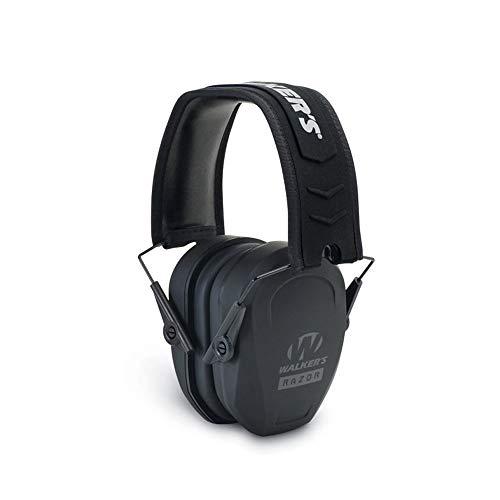 Walker's Razor Slim Passive Earmuff - Ultra Low-Profile Earcups - Black