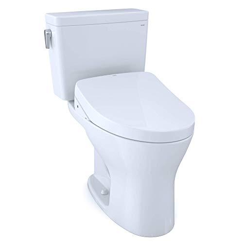 TOTO MW7463046CEMG#01 Drake WASHLET+ Two-Piece Elongated Dual Flush 1.28 and 0.8 GPF DYNAMAX TORNADO FLUSH Toilet with S500e Bidet Seat, Cotton White