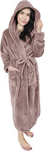 NY Threads Women Fleece Hooded Bathrobe - Plush Long Robe (Large, Taupe)