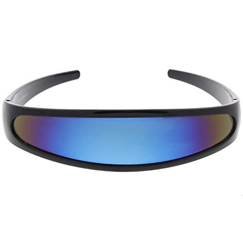 Futuristic Narrow Cyclops Color Mirrored Lens Visor Sunglasses (Black Ice)