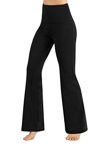 ODODOS Women's High Waisted Boot-Cut Yoga Pants Tummy Control Workout Non See-Through Bootleg Yoga Pants,Black,X-Large