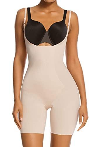 SHAPERX Tummy Control Shapewear for Women Seamless Colombianas Faja Bodysuit Open Bust Mid Thigh Body Shaper Shorts, SZ2490293-Beige-L