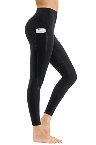 HKJIEVSHOP High Waist Yoga Pants, Pocket Yoga Pants Tummy Control Workout Pants 4 Way Stretch Pocket Leggings Black