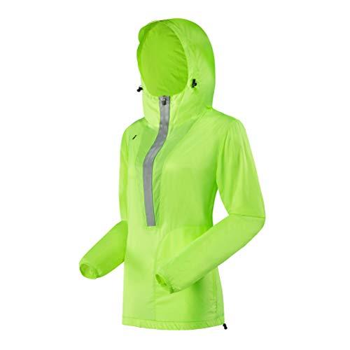 J.CARP Women's Windproof Jacket, Big Reflective Elements, Hooded and Packable Fluorescent Green XL