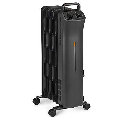 Amazon Basics Portable Radiator Heater with 7 Wavy Fins, Manual Control, Black, 1500W