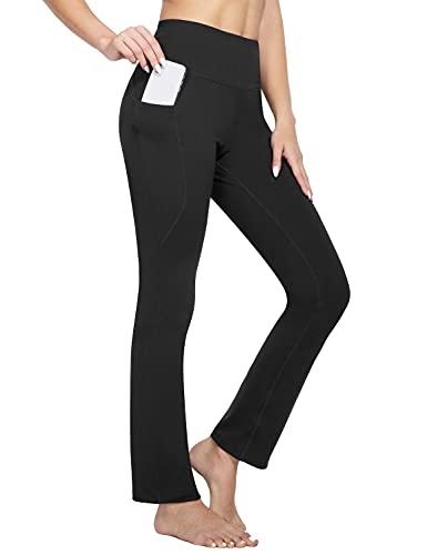BALEAF Yoga Pants with Pockets for Women Straight Leg High Waisted 32' Long Slacks Workout Pants Black XXL