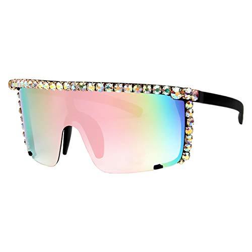 Testudineus Rhinestone Oversize Shield Visor Sunglasses Flat Top Mirrored Mono Lens