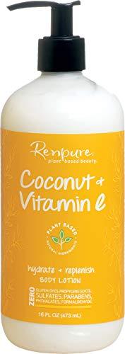 Renpure Plant-Based Organic Body Lotion for Dry Skin – Coconut Oil, Aloe Vera & Vitamin E Oil for Skin – Hydrating, Lightweight Natural Body Lotion & Fast Drying Body Moisturizer Cream, 16 Fl. Oz.