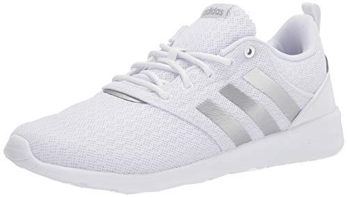 adidas Women's QT Racer 2.0 Running Shoe, White/Silver Metallic/Grey, 8.5