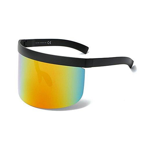 MINCL/Super Large Futuristic Oversize Shield Visor Sunglasses Flat Top Mirrored Mono Lens 172mm (black-orange)