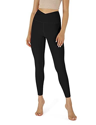 ODODOS Women's Cross Waist 7/8 Yoga Leggings with Inner Pocket, Workout Running Tight Yoga Pants -Inseam 25', Black, X-Large