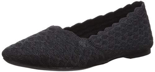 Skechers Women's Cleo-Scalloped Knit Skimmer Ballet Flat, Black, 7.5 M US