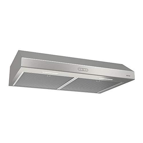 BROAN NuTone BCDF130SS Glacier Convertible Range Hood Light Exhaust Fan for Under Cabinet, Stainless Steel