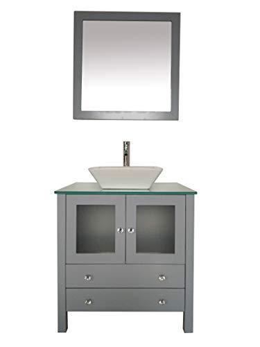 30' Freestanding Wooden Modern Bathroom Vanity Ceramic Sink Vessel Set Bathroom Mirror Included (Grey)