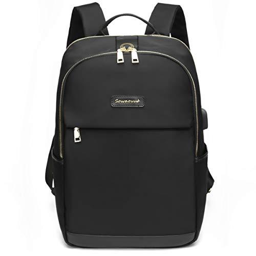 SOWAOVUT Women Waterproof Laptop Backpack with USB port for Work School Fits Tablet (Black)
