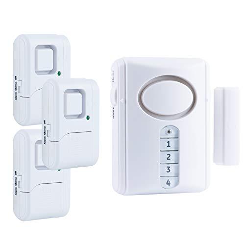 GE Personal Security Alarm Kit, Includes Deluxe Door Alarm with Keypad Activation and Window/Door Alarms, Easy Installation, DIY Home Protection, Burglar Alert, Magnetic Sensor, Off/Chime/Alarm, 51107
