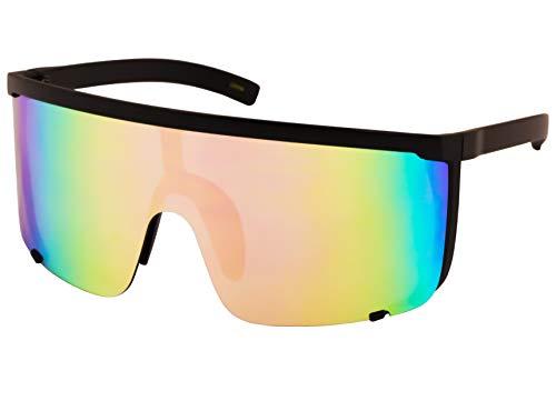 Elite Unisex Oversized Super Shield Mirrored Lens Sunglasses Retro Flat Top Matte Black Frame (Pink Blue Mirror)