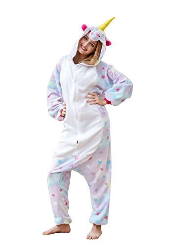 Adult Unicorn Onesie Animal Pajamas Helloween Costume (Small, Star Unicorn)