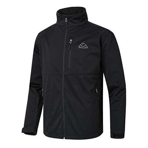 TBMPOY Men's Softshell Windproof Jacket Outdoor Fleece-Lined Coat Winter Outerwear Black XL