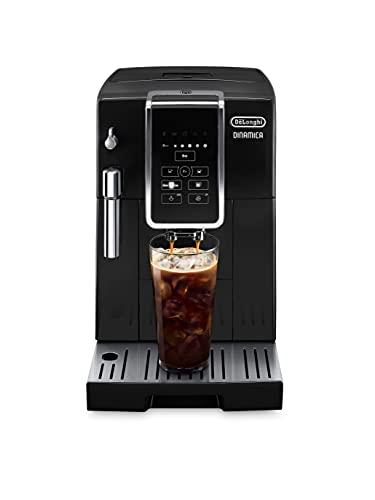 De'Longhi ECAM35020B Dinamica Automatic Coffee & Espresso Machine TrueBrew (Iced-Coffee), Burr Grinder + Descaling Solution, Cleaning Brush & Bean Shaped Icecube Tray, Black
