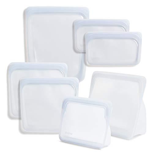 Stasher Platinum Silicone Food Grade Reusable Storage Bag,Clear (Bundle 7-Pack) | Reduce Single-Use Plastic | Cook, Store, Sous Vide, or Freeze | Leakproof, Dishwasher-Safe, Eco-friendly