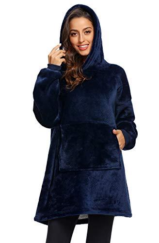 Winter Outdoor Hooded Pocket Blankets Warm Soft Hoodie Slant Robe Bathrobe Sweatshirt Pullover TV Fleece Blanket with Sleeves (Blue)