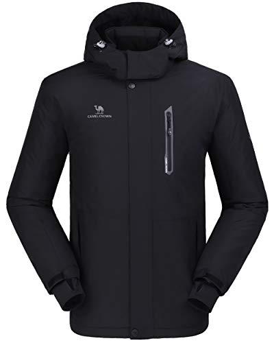 CAMEL CROWN Ski Jacket Men Waterproof Warm Cotton Winter Snow Coat Mountain Snowboard Windbreaker Hooded Raincoat Black M