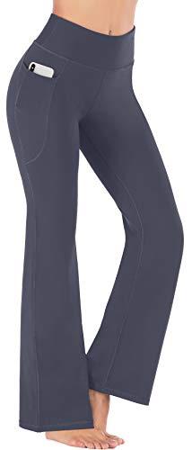 Heathyoga Women Bootcut High Waist Yoga Pants with Pockets, Gray, Large