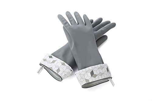 Full Circle Splash Patrol Natural Latex Cleaning and Dish Gloves, Medium/Large, Grey