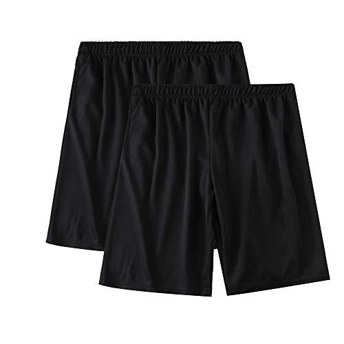 SAYFINE 2 Packs Men's Atheletic Shorts, Black Mens Workout Sport Active Loose-Fit Shorts (XXL, Black/Black)