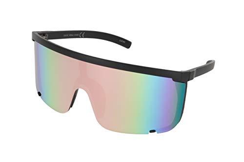 Elite Unisex Oversized Super Shield Mirrored Lens Sunglasses Retro Flat Top Matte Black Frame