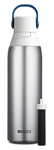 Brita Premium Filtering Water Bottle, 20 oz, Stainless Steel