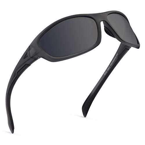 KastKing Hiwassee Polarized Sport Sunglasses for Men and Women, Matte Smoke Crystal Frame,Smoke Lens